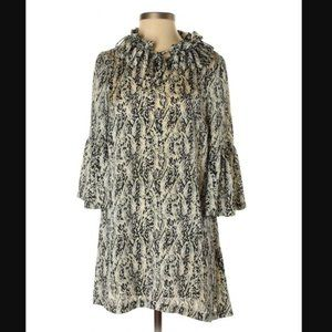 NWOT Patterned Silky Mini Dress with Ruffles